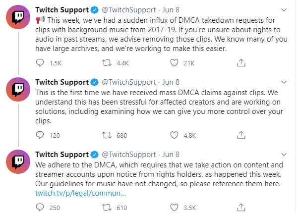 Twitch Support issued a statement regarding using copyrighted music for twitch streams