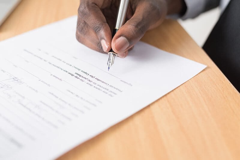 Signing a talent release form
