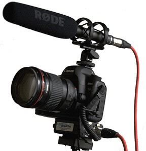A rode shotgun microphoe will give you great sounding videos